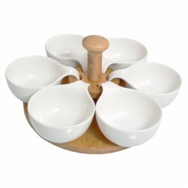 6 Parça Porselen Bambu Kahvaltı Sosluk