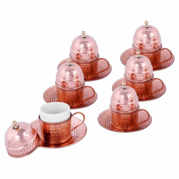 6'Lı Bakır Kahve Fincan Takımı