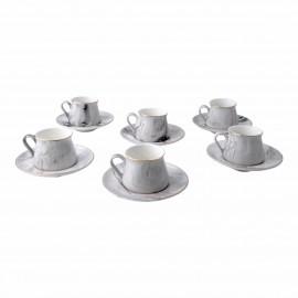 6'lı Gri Mermer Desenli  Porselen Kahve Fincanı Seti