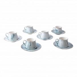 6'lı Yeşil Mermer Desenli  Porselen Kahve Fincanı Seti
